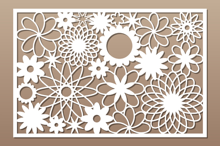 Laser cut panel. Decorative card for cutting. Flower art geometry pattern. Ratio 2:3. Vector illustration. 일러스트