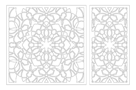 Laser cut panel. Set decorative card for cutting. National ethnic mandala pattern. Ratio 1:1, 1:2. Vector illustration. 일러스트