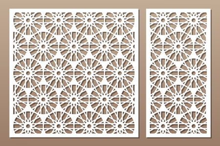 Laser cut panel. Decorative card for cutting. Flower, Arabic, line art pattern. Ratio 1:2, 1:1. Vector illustration. 일러스트