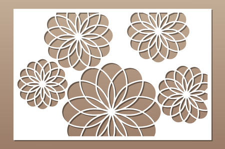 Laser cut panel. Decorative card for cutting. Flower Mandala Arabic art pattern. Ratio 2:3. Vector illustration. 일러스트