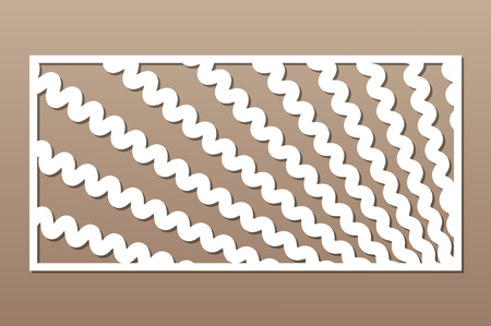 Decorative card for cutting. Wave line pattern. Laser cut panel. Ratio 1:2. Vector illustration.