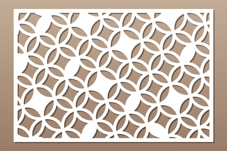 Laser cut panel. Decorative card for cutting. Arabic, line art pattern. Ratio 2:3. Vector illustration. 일러스트