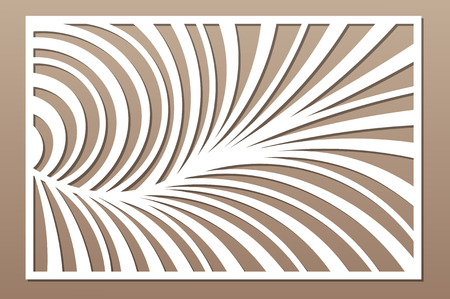 Decorative card for cutting. Abstract linear pattern. Laser cut panel. Ratio 2:3. Vector illustration.