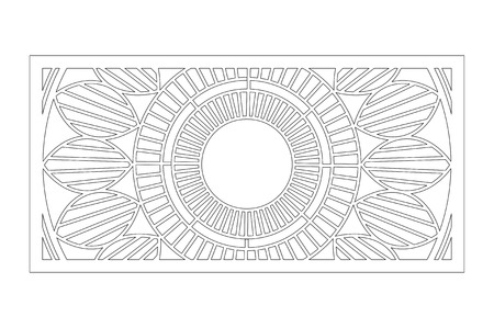 Decorative card for cutting. Mandala Geometry pattern. Laser cut panel. Ratio 1:2. Vector illustration.