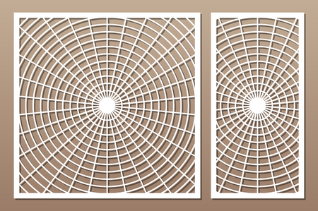 Laser cut panel. Set decorative card for cutting. Geometry line art pattern. Ratio 1:2, 1:1. Vector illustration.