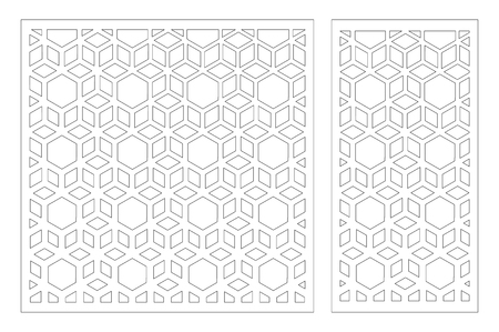 Laser cut panel. Decorative card for cutting. Arabic, line art pattern. Ratio 1:2, 1:1. Vector illustration. Stock Illustratie
