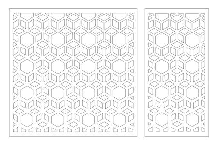 Panneau découpé au laser. Carte décorative à découper. Arabe, motif d'art en ligne. Rapport 1:2, 1:1. Illustration vectorielle.