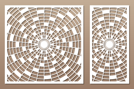 Laser cut panel. Decorative card for cutting. Arabic, line art pattern. Ratio 1:2, 1:1. Vector illustration. 일러스트