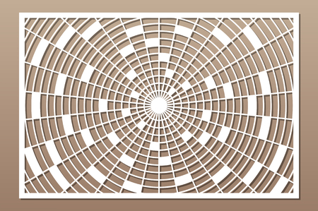 Laser cut panel. Decorative card for cutting. Geometry Kaleidoscope mandala pattern. Ratio 2:3. Vector illustration. 일러스트
