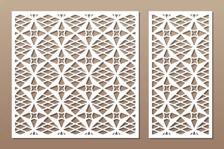 Set decorative card for cutting. Line, Arab, weaving, pattern. Laser cut. Ratio 1: 1, 1: 2. Vector illustration. Vetores