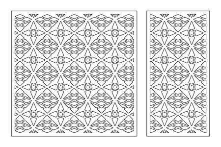 Set decorative card for cutting. Line, Arab, weaving, pattern. Laser cut. Ratio 1: 1, 1: 2. Vector illustration.