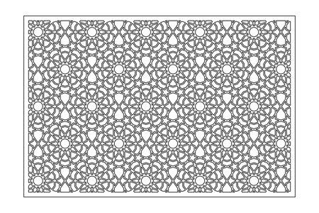 Decorative card for cutting. Line, arabesque, Arab pattern. Laser cut. Ratio 2: 3. Vector illustration.