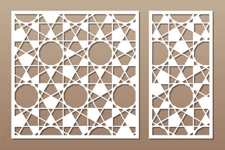 Set decorative card for cutting. Arab linear geometric mosaic pattern. Laser cut. Ratio 1: 1, 1: 2. Vector illustration.