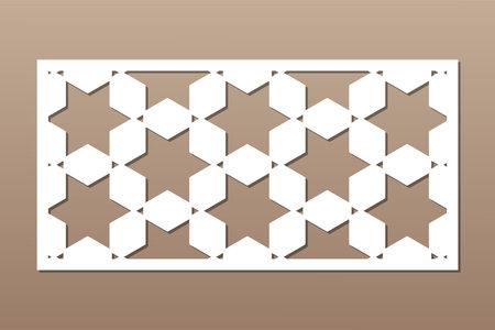 Decorative card for cutting. Recurring Artistic Arab Mosaic pattern. Laser cut. Ratio 1: 2. Vector illustration.