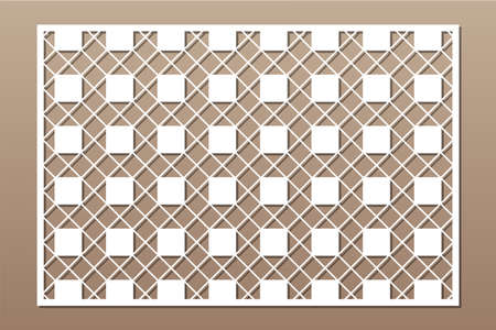 Decorative card for cutting. Recurring Artistic Arab Mosaic pattern. Laser cut. Ratio 3: 2. Vector illustration.