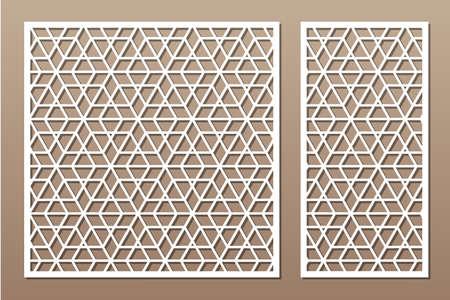 Set decorative card for cutting. Recurring Artistic Arab mosaic pattern. Laser cut. Ratio 1: 1, 1: 2. Vector illustration.