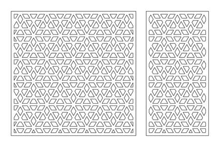 Set decorative card for cutting. Recurring Artistic Arab mosaic pattern. Laser cut. Ratio 1: 1, 1: 2. Vector illustration. Vetores