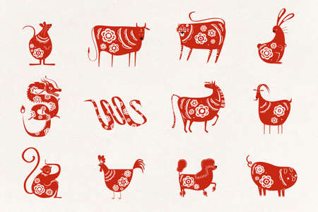 Chinese animals zodiac sign vector red colored collection