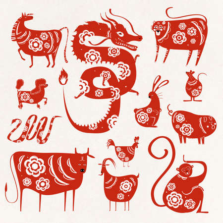Chinese new year zodiac animals vector symbol collection Illustration