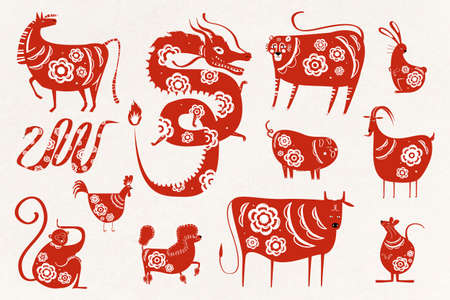 Chinese new year zodiac vector symbol collection Ilustrace