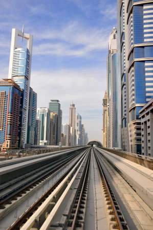 DUBAI - MARCH 17  General view of Dubai Metro and the city on March 17, 2011 in Dubai, UAE  Dubai metro is the first monorail in the Middle East