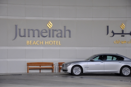 voted: DUBAI, UAE-MARCH 10:Jumeirah Beach Hotel on March 10, 2011 in Dubai.For the 2nd year in a row,the hotel was voted the Best Hotel in the Middle East at the 2011Business Traveller Awards held in Germany