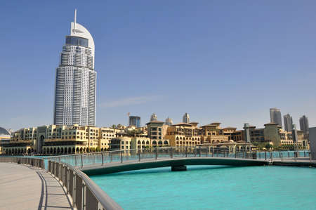 DUBAI, UAE - MARCH 23: Address Hotel and Lake Burj Dubai on March 23, 2011 in Dubai. The hotel is 63 stories high and feature 196 lavish rooms and 626 serviced residences