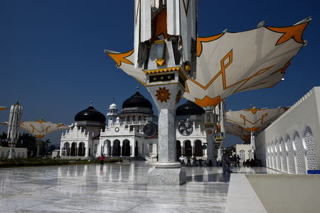 Banda Aceh, ACEH Province, INDONESIA - February 12 2018: Baiturrahman Grand Mosque is located in the heart of Banda Aceh City. Baiturrahman is the Great Mosque was built since centuries years ago in Banda Aceh. It is the symbol of religious life, bravery, Editorial