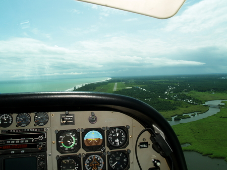 View from the airplane cockpit during landing