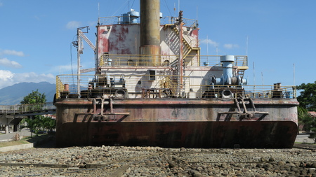PLTD Apung is an electric generator ship. The 2,600 ton vessel had been in the sea and was flung 2 to 3 kilometres inland by the Indian Ocean earthquake and tsunami
