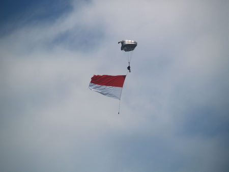 The parachutist in the sky with Indonesian Flag