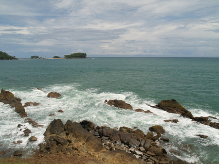 Beautiful view of Rocky Coastline in Calang, Aceh Jaya, Indonesia