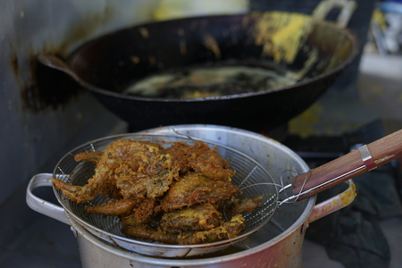 Deep Fried Chicken with Tasty Crisp Topping selling at street market food