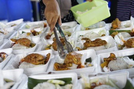 Vendor selling Crispy Fried chicken during fasting month at Street market food in Banda Aceh, Indonesia