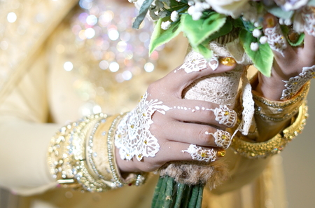 Woman Bride Hands with Henna, Indonesian Wedding Tradition Ceremony.