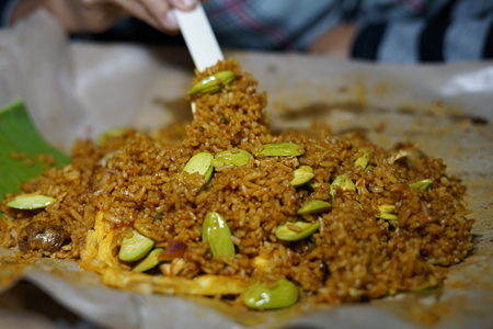 Nasi Goreng Petai, Fried rice served with Bitter Bean and egg at street food market