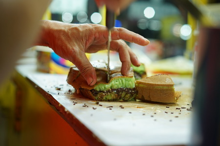 Martabak Manis or Indonesian Sweet Giant Pancake, green tea flavour with cheddar cheese