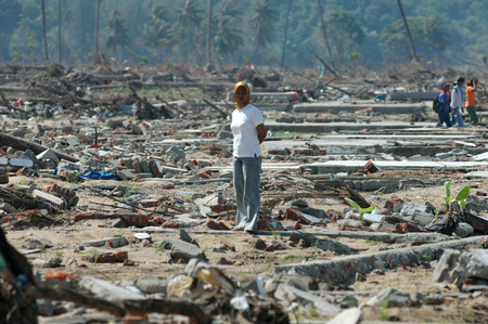 Lhoknga, Aceh Besar, Aceh, Indonesia - February 9, 2005 : People visit their Demaged house and village. Indian Ocean Earthquake and Tsunami disaster Destroyed Aceh in December 26 2004 Editorial