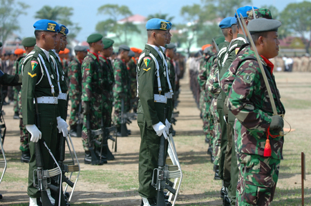 Banda Aceh, Indonesia - August 16, 2005: Indonesian Military Police Army Soldier in Indonesian Independence day celebration at Blangpadang, banda aceh, Indonesia