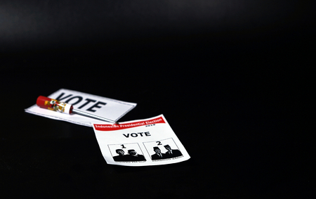 Illustration of Casting vote. Ballot box Presidential election in Indonesia Stock Photo