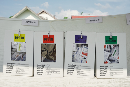 Banda Aceh, Indonesia - April 17, 2019: Voting ballot inside Ballot boxes of Indonesian General Election in Banda Aceh