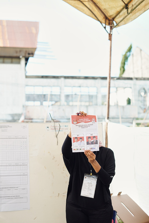 Banda Aceh, Indonesia - April 17: Election officials and witnesses count ballots at a polling station on April 17, 2019 in Banda Aceh, Indonesia.