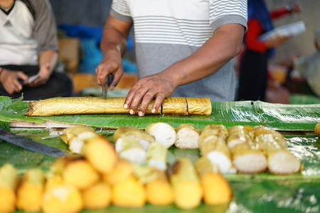 Lemang Bamboo a traditional Asian Foods made of glutinous rice, coconut milk and salt, cooked in a hollowed bamboo stick