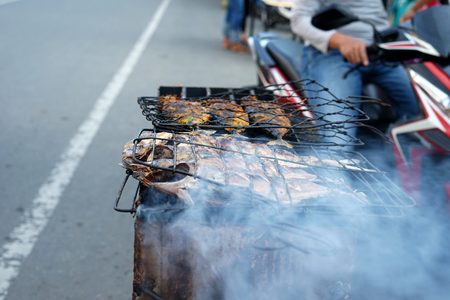 Fish on Grilled at ramadan street food in Indonesia