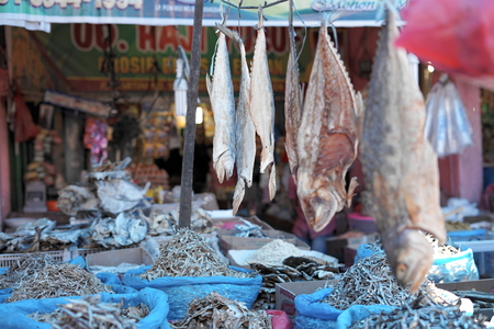 Dried salty fish for sale at Traditional Fish Market, Indonesia