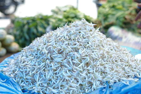 Heap of fresh bean sprouts for sale at Traditional market in Indonesia