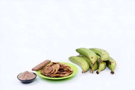 Chocolate Banana chips with chocolate bar, chocolate powder and banana fruit on White Background 写真素材