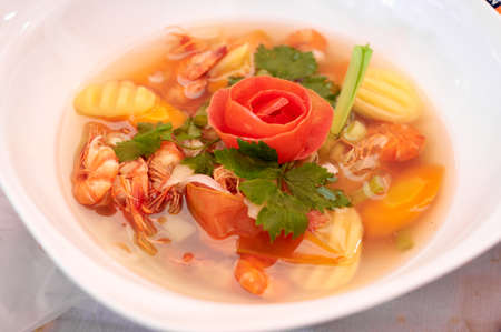 Serving Vegetable with shrimp soup Stock Photo