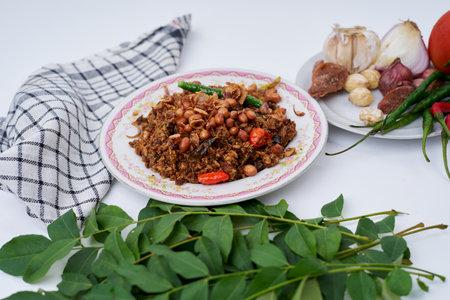 Stir Fried spicy Tuna chunks, Traditional Asian Seafood Stockfoto