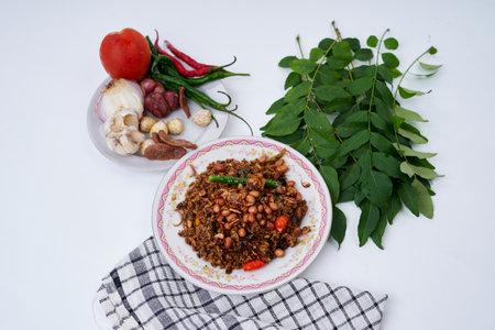 Stir Fried spicy Tuna chunks, Traditional Asian Seafood Zdjęcie Seryjne